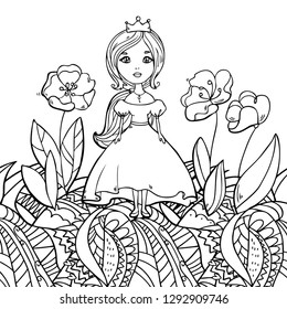 Vector illustration with cute little princess in crown, flowers on abstract decorative background for coloring art