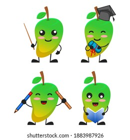 vector illustration of cute mango fruit school and education theme bundle set. cute mango fruit Concept White Isolated. Flat Cartoon Style Suitable for Landing Page, Banner, flyer, Sticker.