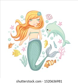 vector illustration of cute mermaid with dolphins, sea plants and shells hand drawn.