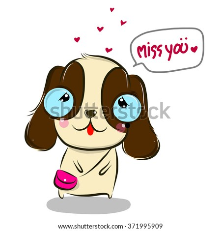 Vector Illustration Cute Missyoucutedog Cartoon Drawing Stock Vector