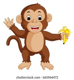 vector illustration of Cute monkey cartoon eating banana