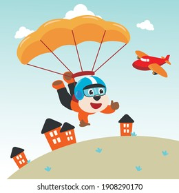 Vector illustration of a cute monkey flying with a parachute. with cartoon style. Creative vector childish background for fabric textile, nursery wallpaper, poster, card, brochure. vector illustration