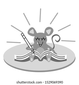 Vector illustration of cute mouse holding pencil and making notes in the album. Cartoon animal writing new year resolutions and goals list on the book.