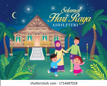 "vector illustration with cute muslim family having fun with sparklers and traditional malay village house. Malay word ""selamat hari raya aidilfitri"" that translates to wishing you a joyous hari raya."