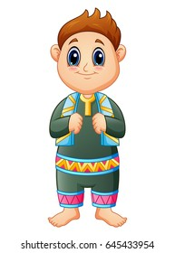 Vector illustration of A cute muslim kid standing with scarf in his neck on month of ramadan