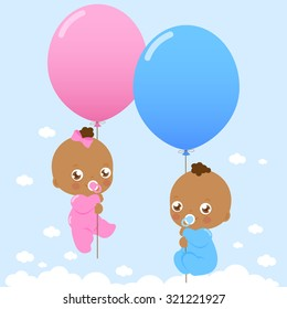 Vector Illustration of  cute newborn twin girl and boy black babies flying in the sky holding balloons.