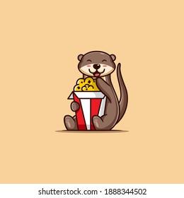 vector illustration. a cute otter enjoying his popcorn. flat cartoon style.