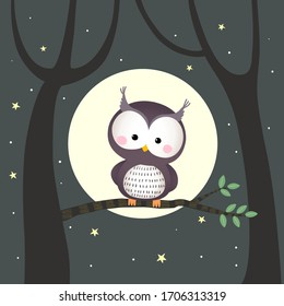 Vector illustration cute owl sitting on a tree branch with moon and stars at night.