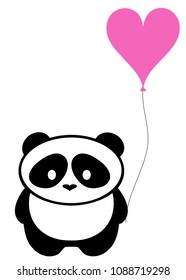 Vector illustration of cute panda bear with pink heart balloon silhouette. Logo design template. Funny lazy Panda animal icon logotype concept.