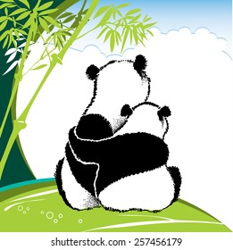 Vector illustration of cute panda couple in love on the background with green bamboo and blue cloud sky. Cartoon design elements with animals in contour style.