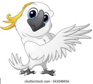 Vector illustration of Cute parrot cockatoo cartoon posing