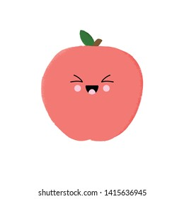 Vector illustration of a cute peach character with a kawaii face. Funny food concept.
