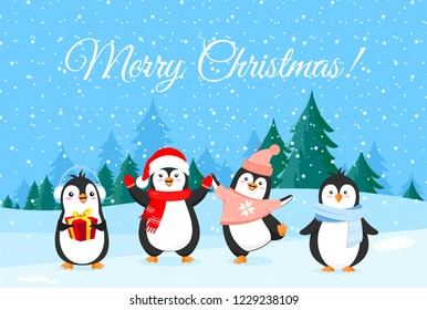 Vector illustration of cute penguins in Christmas clothes. Winter holidays banner, Merry Christmas greetings. Happy and funny penguins on winter forest background.