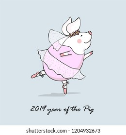vector illustration of cute pig ballerina dancing, symbol of the new 2019,cartoon design