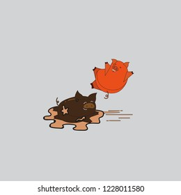 Vector illustration of cute pig on a puddle, funny two pigs and a dirty puddle