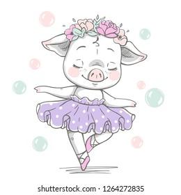 Vector illustration of a cute piggy ballerina in a violet tutu.