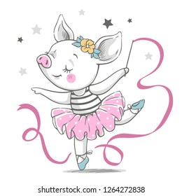 Vector illustration of a cute piggy ballerina in a pink tutu.