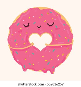 Vector illustration of cute pink cartoon donut with heart and face, can be used for valentine's day greeting cards, party invitations, posters, prints and books