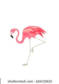 Vector illustration with cute pink flamingo. Paper flat design with exotic bird