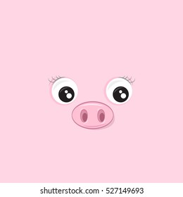 Vector illustration of the cute pink pig.