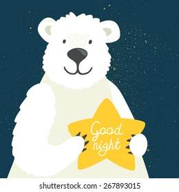 """Vector illustration of cute polar bear with star and hand written text """"Good night"""". Childish background with smiling cartoon character."""