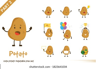 Vector illustration of cute potato poses vegetable set. Isolated on white background.