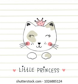 Vector illustration with cute princess cat for t-shirt design, baby shower, greeting card