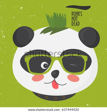 Vector Illustration Cute Punk Panda Mohawk Stock Vector Royalty