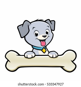 Vector illustration of a cute puppy with bone for design element