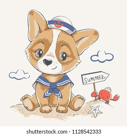 Vector illustration of a cute puppy in sailor costume, seated on the beach.