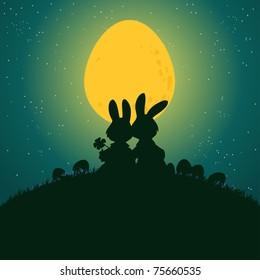 Vector illustration, cute rabbits under egg light, card concept.