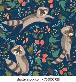 Vector illustration of cute raccoon. Seamless pattern.