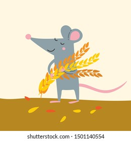 Vector illustration of cute rat with wheat grains harvest. Can be used as a template for calendar, card, banner, invitation, children book, apparel.