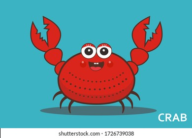 vector illustration of cute red crab with claws
