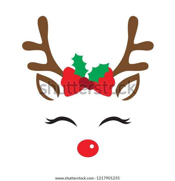かわいいトナカイの顔にクリスマスの飾りとベクターイラスト のベクター画像素材 ロイヤリティフリー