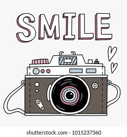 Vector illustration with cute retro photo camera