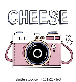 Vector illustration with cute retro photo camera