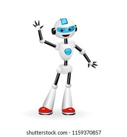 Vector illustration of cute robot waving hello isolated on white background