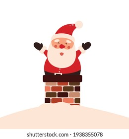 Vector illustration of cute Santa Claus mascot or character isolated on white background. Flat style.