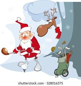 Vector Illustration of Cute Santa Claus Golfer