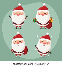 vector illustration of cute Santa mascot or character