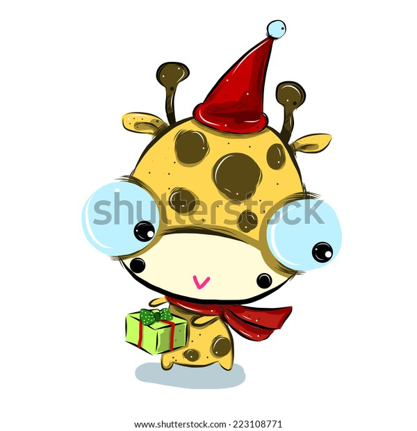 Vector Illustration Cute Santagiraffe Cartoon Drawing Stock Vector