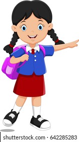 Vector illustration of cute school girl cartoon with backpack