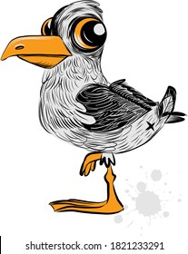 the vector illustration of the cute seagull