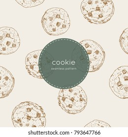 Vector illustration cute seamless pattern, background with chocolate chip cookie. Freshly baked choco cookie icon. Food pattern