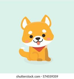 Vector illustration of cute Shiba Inu dog.