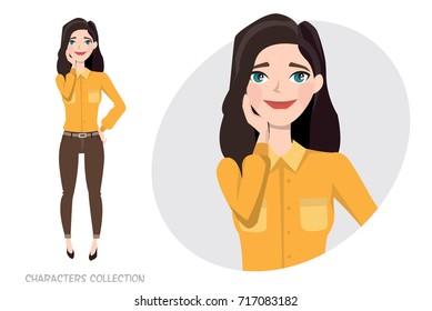Vector illustration of a cute shy girl