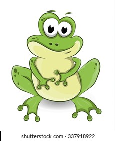 vector illustration of a cute sitting frog isolated on white
