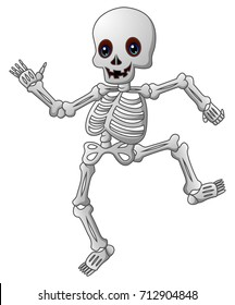 Vector illustration of Cute skeleton cartoon