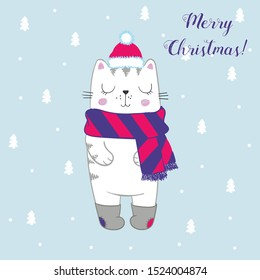 Vector illustration of cute sketch  white cat with winter hat, warm knitted scarf, old felt boots with colored patches, cartoon card with curly lettering Merry Christmas on textured background